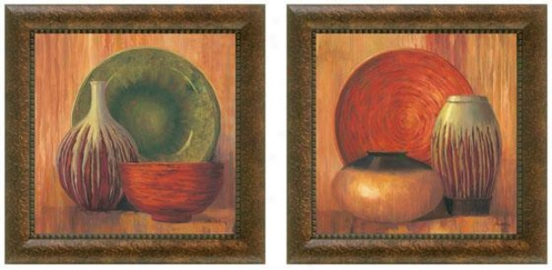Ceramic Study Framed Wall Art - Set Of 2 - Set Of Two, Earthtones