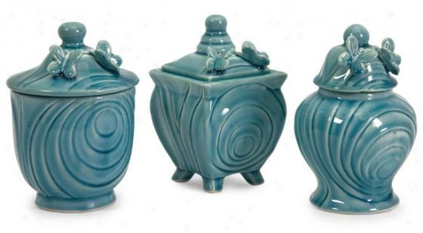Cerulean Butterfly Lidded Boxes - Set Of 3 - Set Of 3, Blue