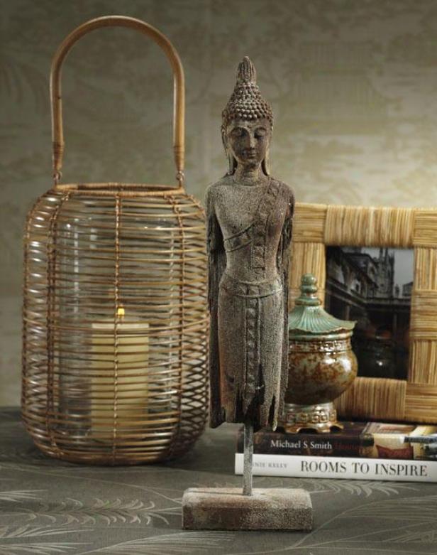 """""""chandara Standing Buddha Sculpture - 21h X 6w X 4""""""""d, Ivory"""""""