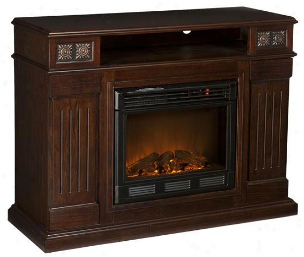 """charles eMdia Fireplace - 48""""wx36""""hx16""""d, Coffee Brown"""