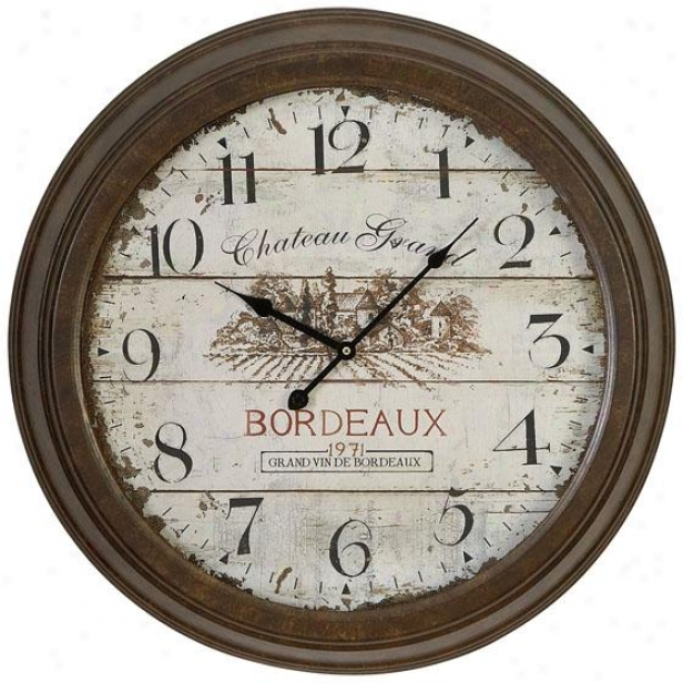 """chateau Grand Wall Clock - 23 """"round X 4""""d, Brown"""