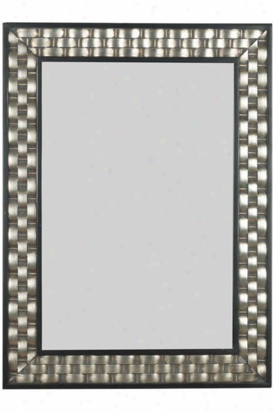 """checker Wall Mirror - 38h X 28""""w, Brushed Silver W/black Language"""