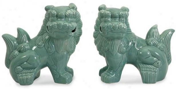 Choo Foo Dogs - Set Of 2 - Set Of 2, Blue