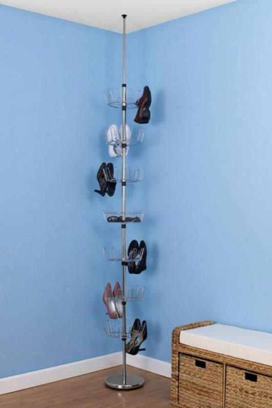 """chrome Floor-to-ceiling Shoe Tree - 99""""hx12""""w, Silver Chrome"""