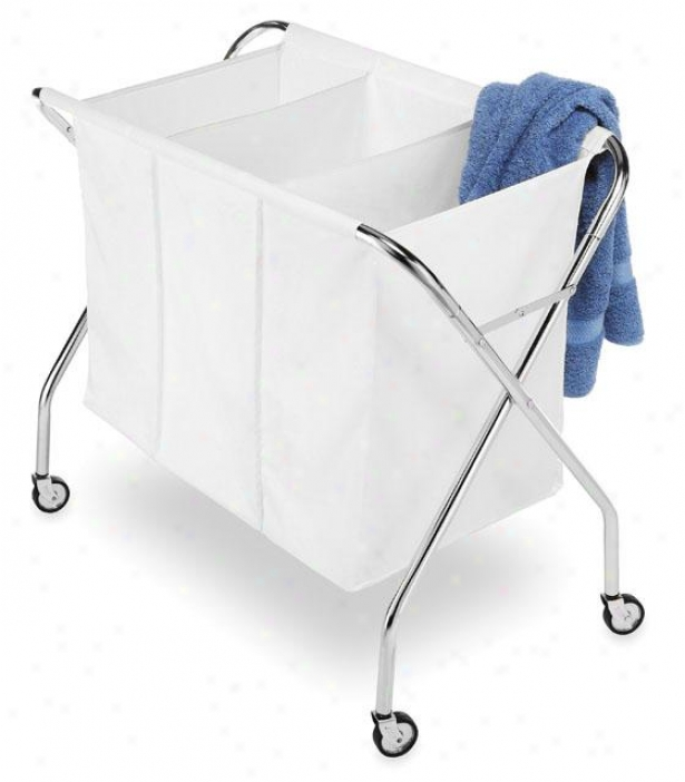"""chrome Laundry Sorter - 30""""hx34""""wx19""""d, White/chrome"""