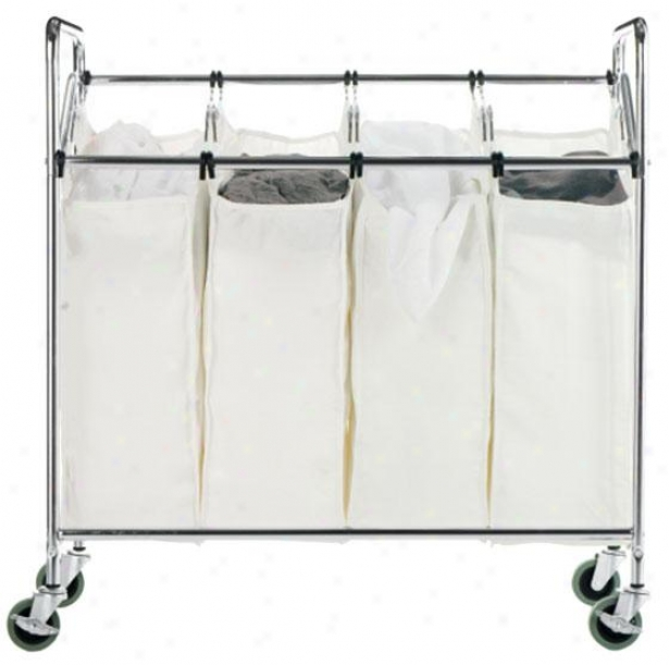 """chrome Quad Laundry Sorteer - 33""""hx34""""w, Silver Chrome"""