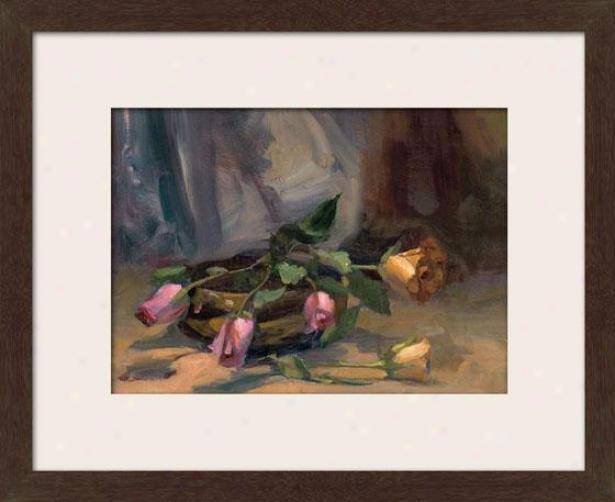 """cinnamon Rose Framed Wall Art - 27""""hx33""""w, Matted Espresso"""