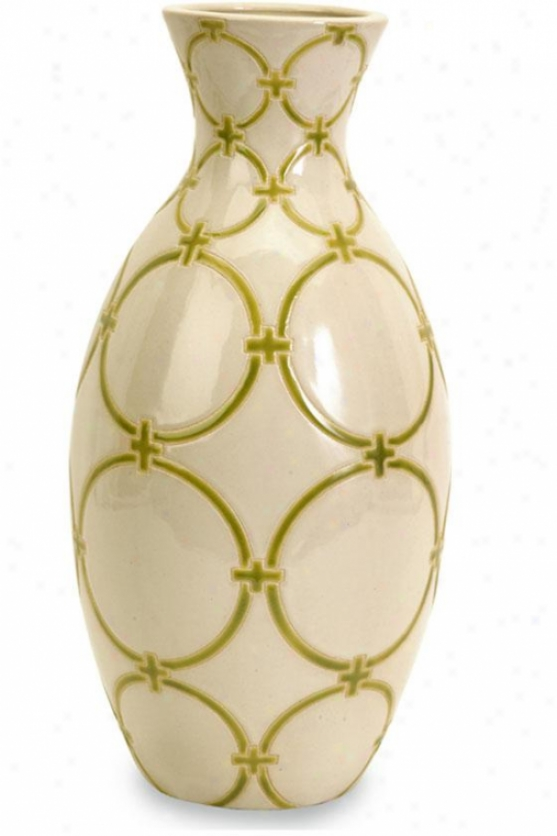 """circle Lattice Vase - 17""""h X 8""""d, Gream/green"""