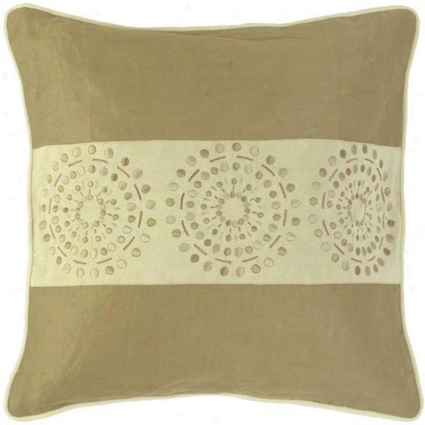 """circles Annd Stripes Pillows - Set Of 2 - 18""""x18"""", Khaki/tan"""
