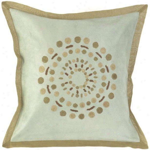 """circles Pillows - Set Of 2 - 18"" ""x18"""", Sky/khaki"""