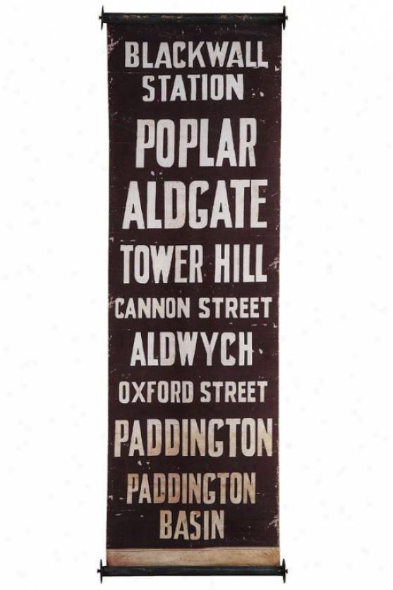 """""""city Wall Banner - 59""""""""hx19.75""""""""w, Blkwall Station"""""""