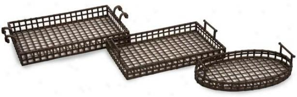 Cki Urban Iron Trays - Set Of 3 - Set Of 3, Brown