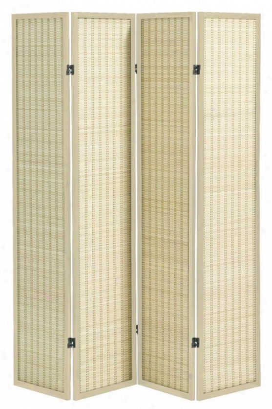 Clayton 4-paanel Bamboo Room Divider - Four-panel, Ivory