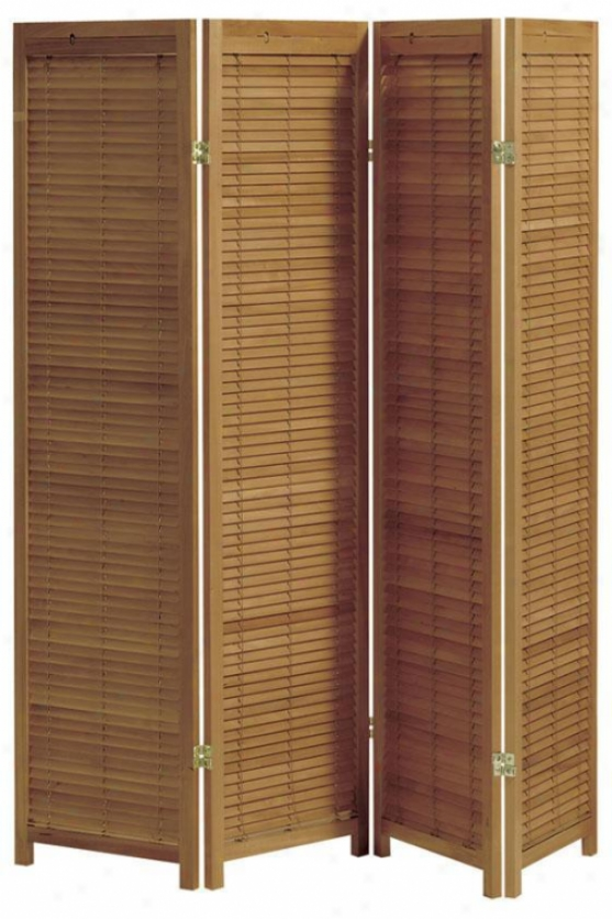 Clayton 4-panel Shutter Room Divider - Four-panel, Tan