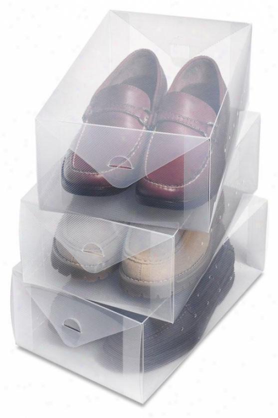 """""""clear Vue Men's Shoe Box - Set Of 3 - 5""""""""hx8.5""""""""xw13""""""""d, White"""""""