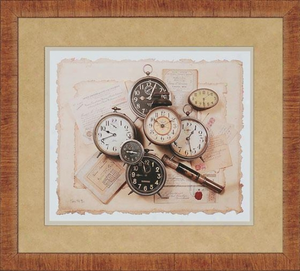 """clocks Framed Wall Art - 27h X 30w X 1""""d, Gold"""