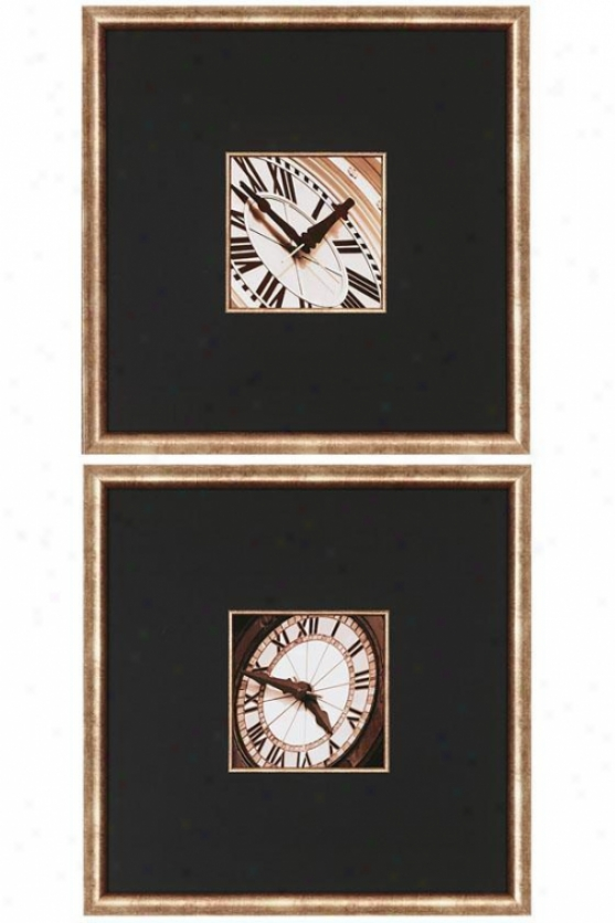 Clocks I Wall Art - Set Of 2 - Decline Of 2, Black