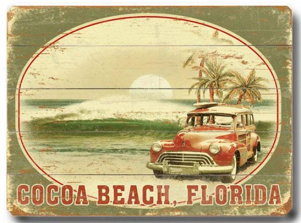 """cocoa Beach Florida Wooden Sign - 14""""h X 20""""w, Green"""
