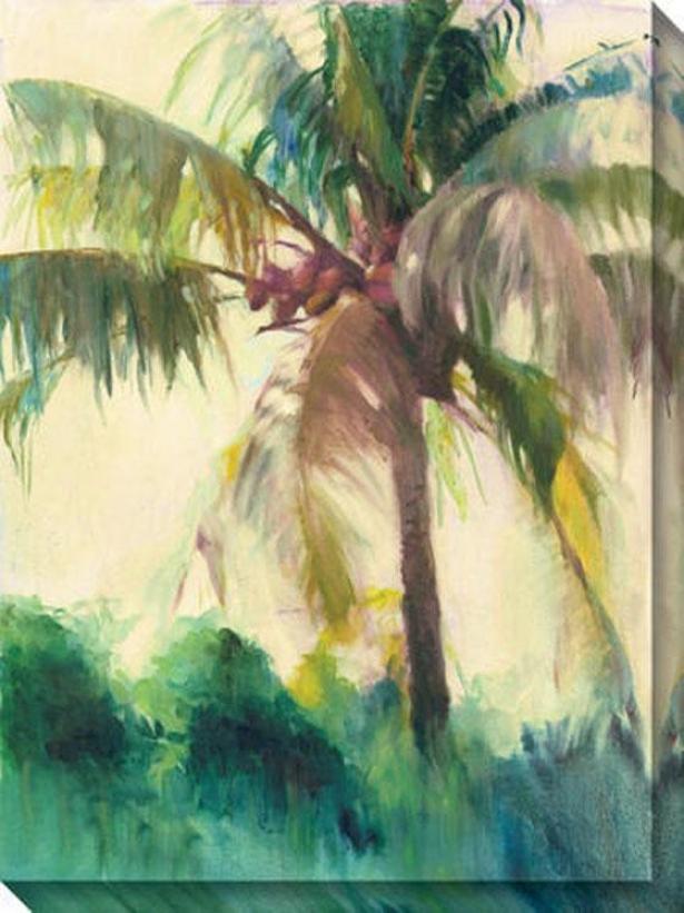 """coconut Palm Canvas Wall Art - 36""""hx48""""w, Green"""