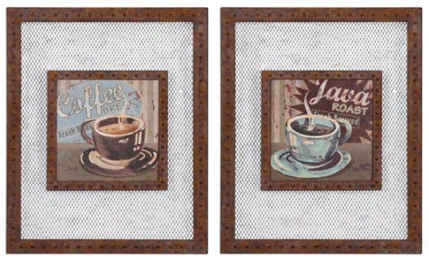 Coffwe Brew Wall Art - Set Of 2 - Set Of 2, Rust Multi