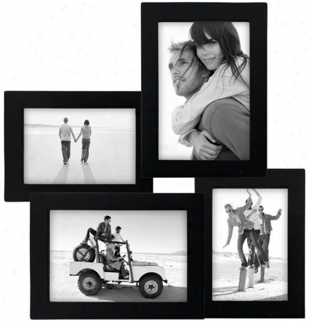 Collage 4-opening Black Picture Frame - 12hx1.5x12.75d,-Black