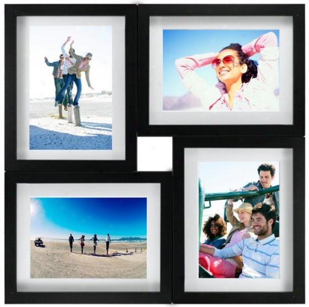 Collage 4-opening Matged Paint Frame - 21hx1.25w, Black