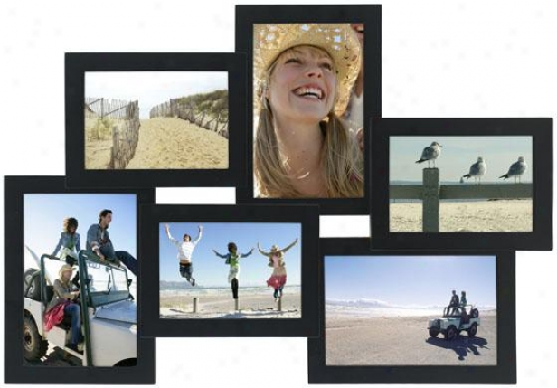 Collage 6-opening Black Picture Frame - 17.75hx1.5w, Black