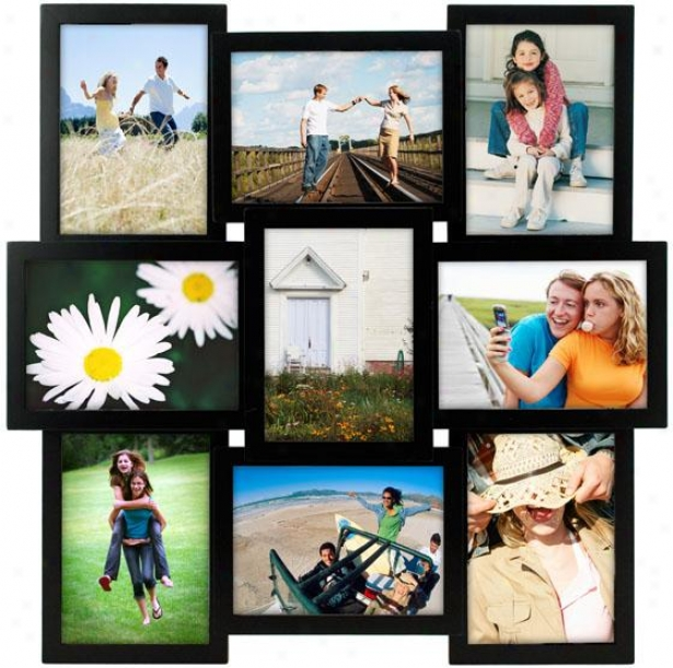 Collage 9-opening Black Picture Frame - 21hx2.5wx21d, Black