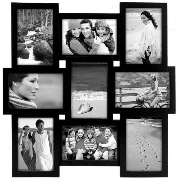 Collage 9-opening Wooden Picture Frame - 17.83hx1.3w, Murky