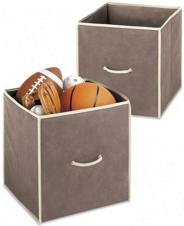 Collapsible Cubes - Set Of 2 - Set Of Two, Cof fee