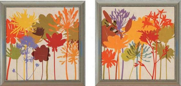Colorful Bloom Wall Art - Set Of 2 - Set Of Two, Multi