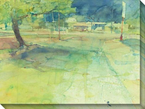 """convenience Store lCearing Canvas Wall Art - 48""""hx36""""w, Green"""