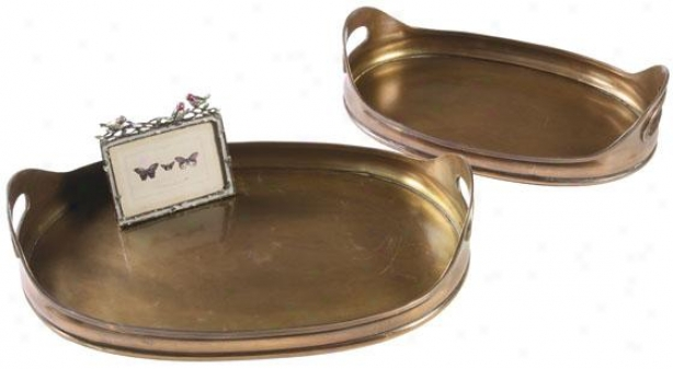 Copper Oval Platters - Set Of 2 - Set Of Two, Copper