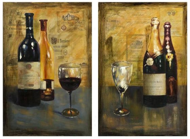 Corbea uVino Oil Painting - Set Of 2 - 30hx20w, Gold
