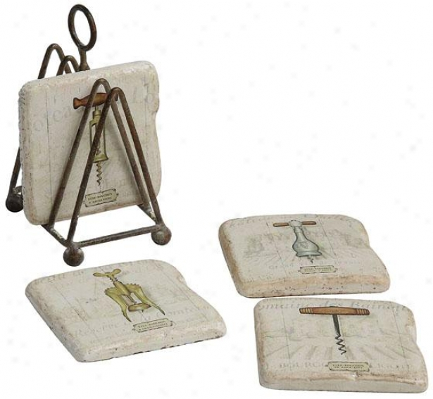 """""""corkscrew Coasters With Stand - 3.75""""""""square, Ivory"""""""