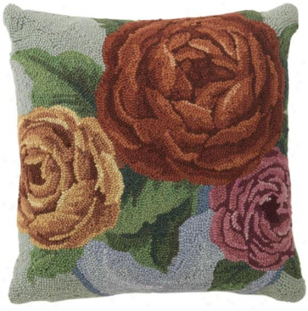 """""""cotillion Hooked Pillow - 18"""""""" Square, Multi Floral"""""""