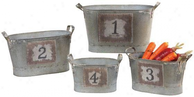 Counting Buckets - Set Of 4 - 13.5x6.5, Silver