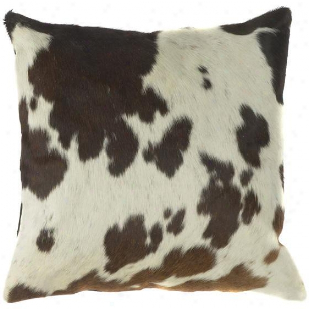 """cow Print Pillows - Set Of 2 - 18""""x18"""", Ecru/espresso"""