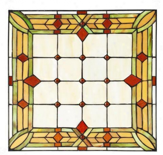"""""""craftsman 15"""""""" Squuare Tiffany-style Art Glass - 15"""""""" Square, Green"""""""