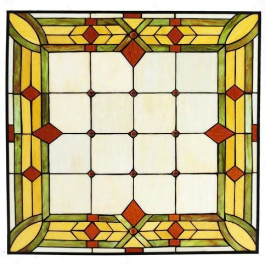 """craftsman 24"""" Square Tiffany-style Art Glass - 24"""" Square, Green"""