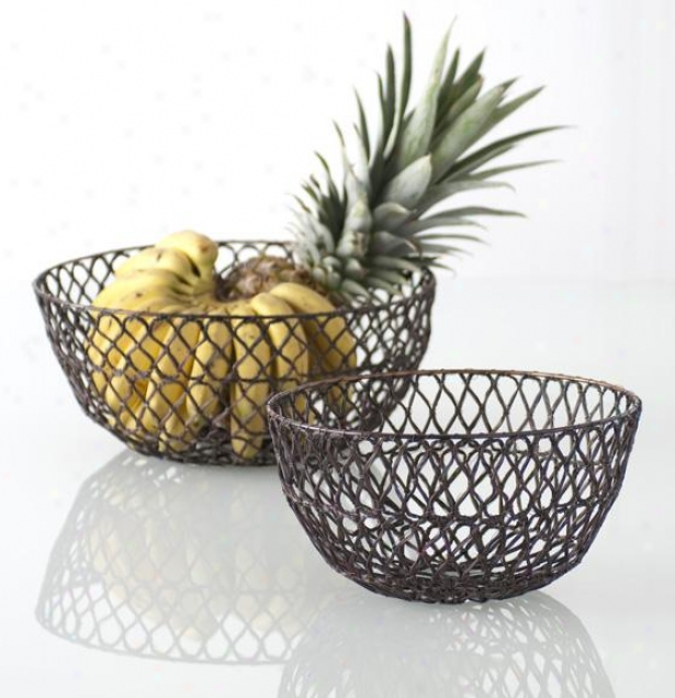 """crochet Wire Bowl - Small 10""""d, Copepr"""