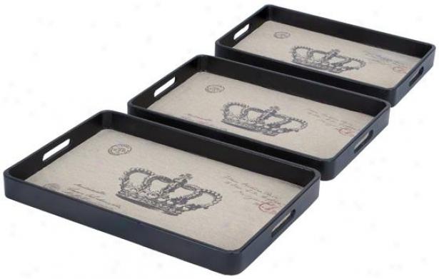 Cfown Leather Trays - Set Of 3 - Set Of 3, Tan