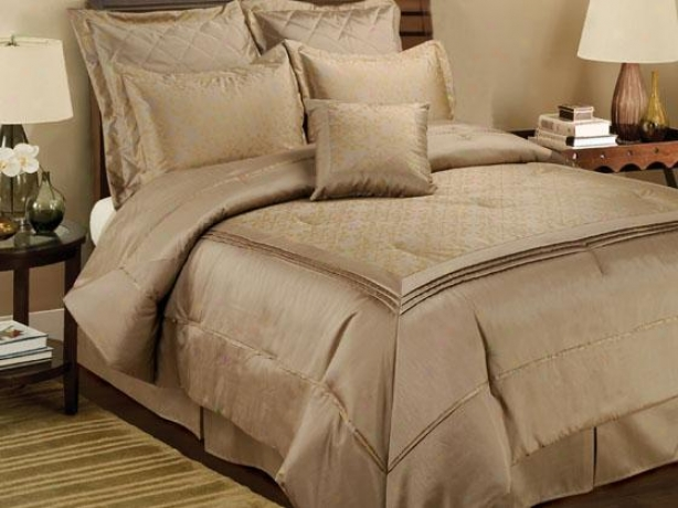 Crystal Orbit Comforter Set - Queen, Gold