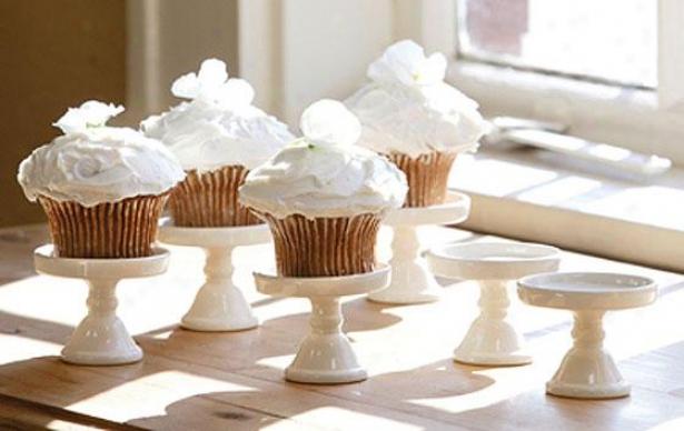 """""""cupcake Stand - Set Of 6 - 3""""""""hx2.5""""""""round, Ivory"""""""