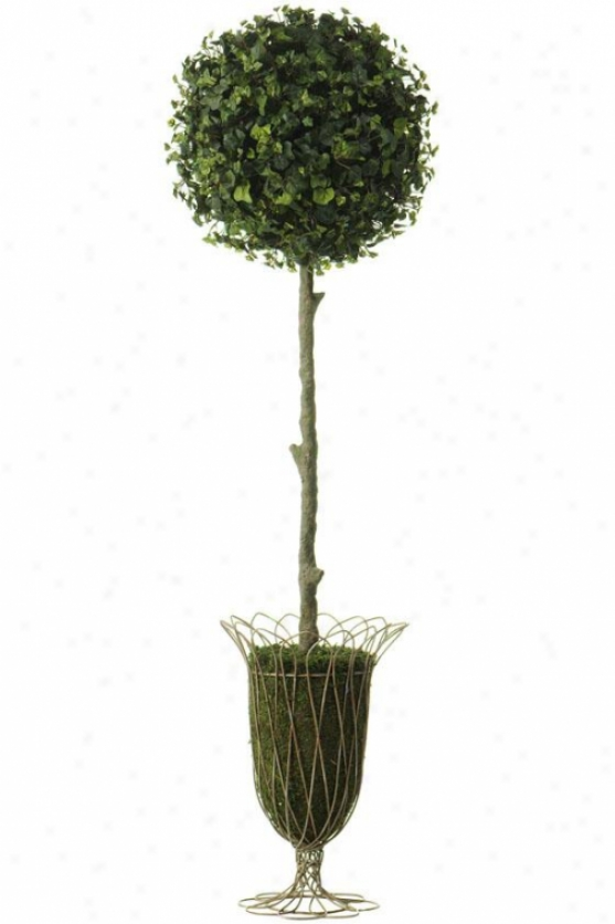 """curly Ivy Topiary - Ball-shaped: 49h X 10""""rdx, Green"""