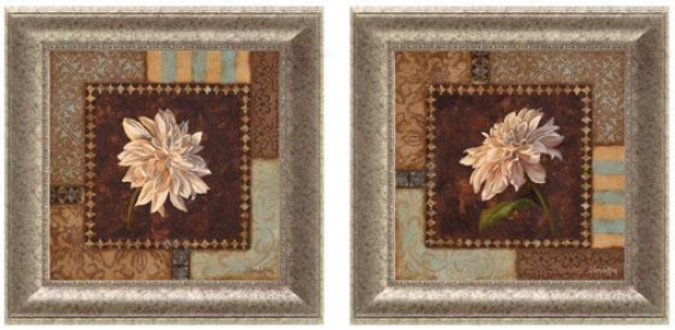 Dahlia Framed Wal lArt - Set Of 2 - Set Of Two, Brown