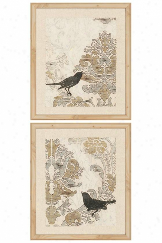 Damask Songbirds Wall Art - Set Of 2 - Set Of 2, Ivory