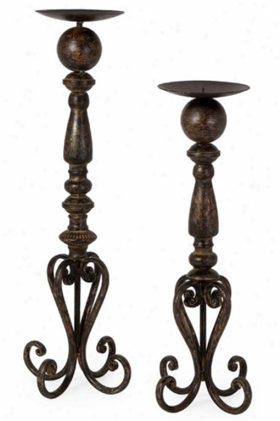 Darby Candlesticks - Set Of 2 - Set Of 2, Dismal