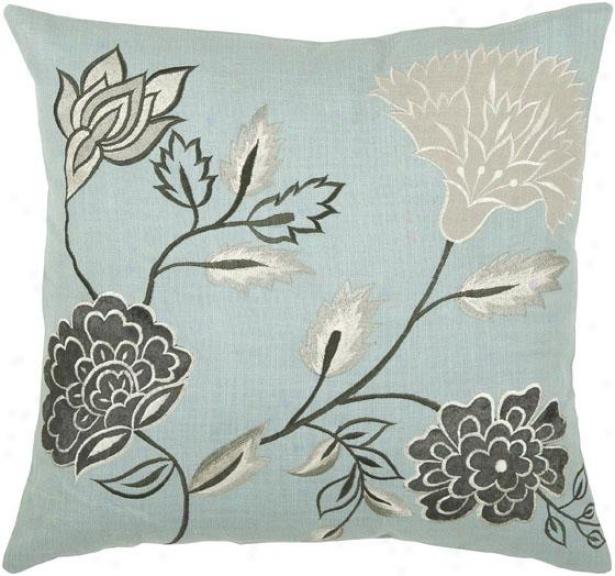 Davis Pillow - 18hx18w, Blue/white/gray