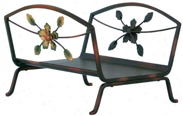 """decorative Flower Log Rack - 12""""hx166""""wx12""""d, Burnished Brnz"""